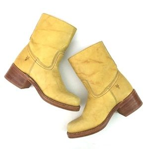 Frye Campus Zip Yellow Leather Boots